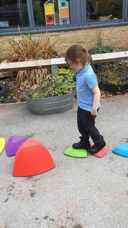 We have daily access to our outdoor area where we take part in sensory circuits and balanc