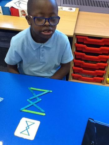 copying the pattern with lolly sticks