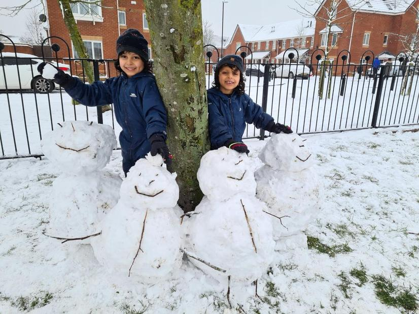 Dhyey and Dhyan made a snow family!