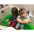 Lola and Daisy in the slime bath