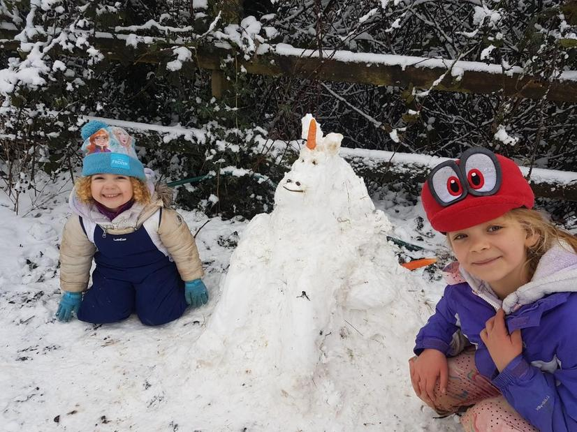Alisha and her sister made a snow unicorn!