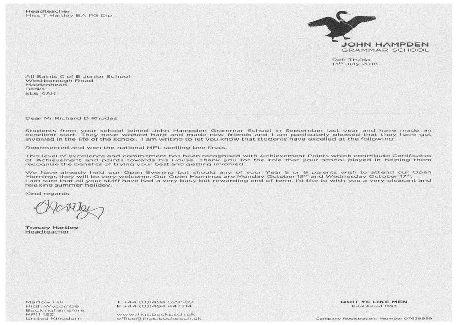 Letter from John Hampden Grammar School