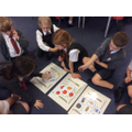 Sorting healthy and unhealthy foods.