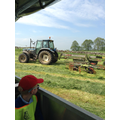 We watched the silage being raked.
