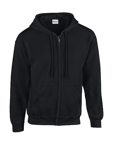Plain Black Zip-Up Hoodie