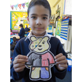 Look at how neatly Amir coloured Pudsey.