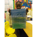 "Shaniya with her beautifully ""sad"" piece."