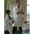 Moeez helped show everyone how to wash our hands.