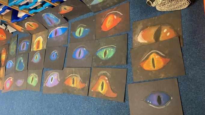 We can see you! Superb chalk work, Class 1!