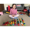 Counting bricks to match numbers.