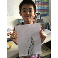 Alex drew a Roman bust.