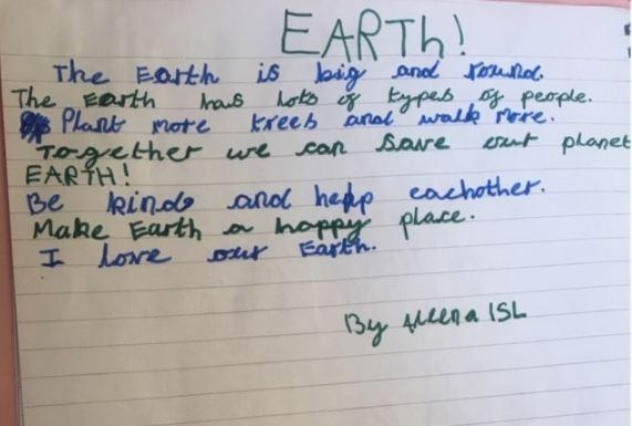 Aleena in Y1 wants to live on a happy planet.