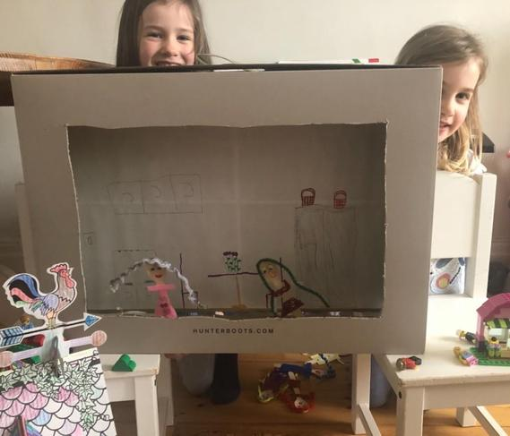 Making a puppet show with our home made puppet theatre!