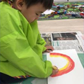 Painting rainbows and Spring pictures.