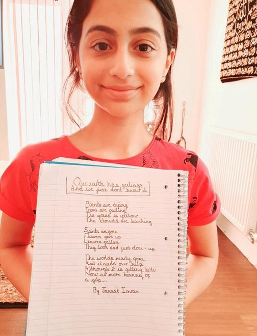 Jannat in Y5 has used rhyme in her poem.