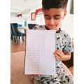 Isa has been practising his times tables.