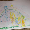 Samantha's drawing and colouring in.