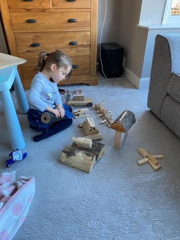 Building with wooden shapes