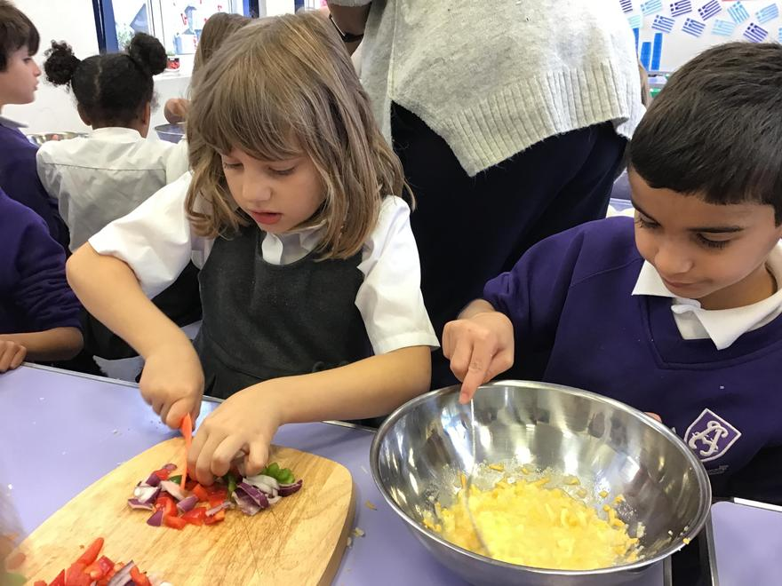 Year 3 making tortillas.