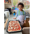 Making delicious pizza.