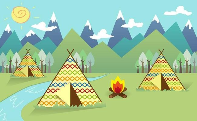 Can you draw a triangular  tepee with patterns?