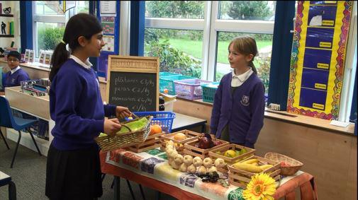 Drama: Year 6 buying fruit in a Spanish cafe.