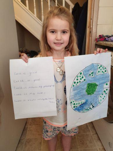 Megan in Y1 painted the Earth to go with her poem.