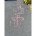 Anishka made a Roman numerals hopscotch.
