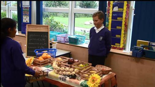 Year 6 buying and selling fruit and vegetables.