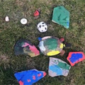 George and Henry painted stones they had found.