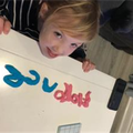 Making our names with play dough.