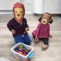 Thomas and his sister made some animal masks!