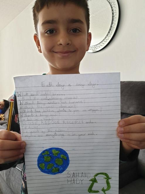 Sahand in Y3 has adapted a poem with his ideas.