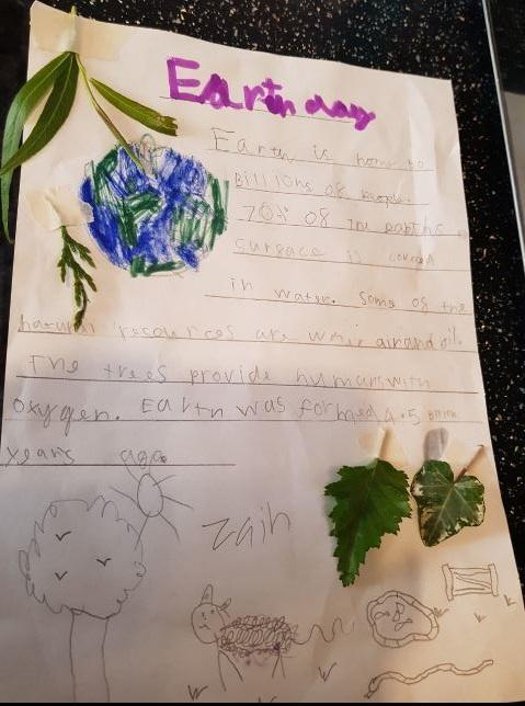 Zain in Y1 added natural objects to his poem.