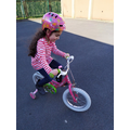 Riding bikes, balance bikes and scooters.