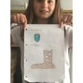 Leah has designed a Roman sandal and shield.
