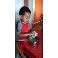 Baking Gingerbread Men.