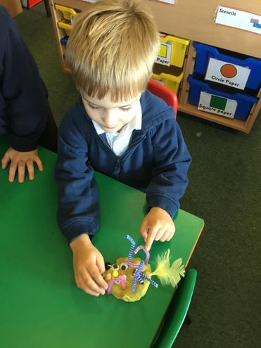 Making monsters with mixed media.