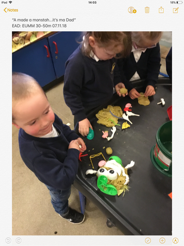 Making monsters in the playdough.