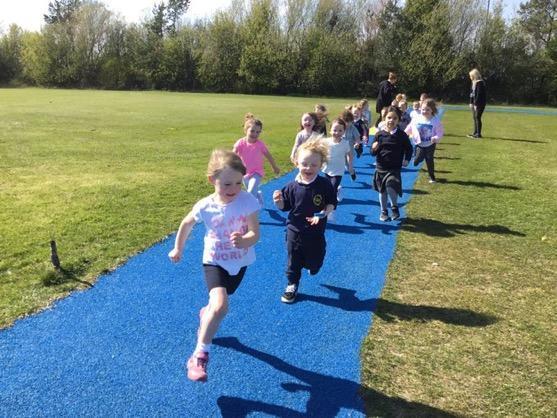 Running around the daily mile track