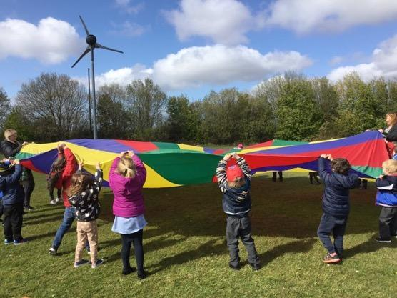 Playing with our parachute