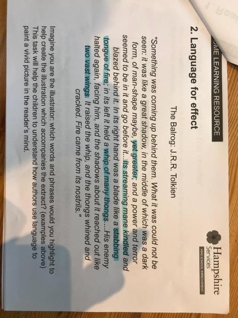 Y6 English response to reading