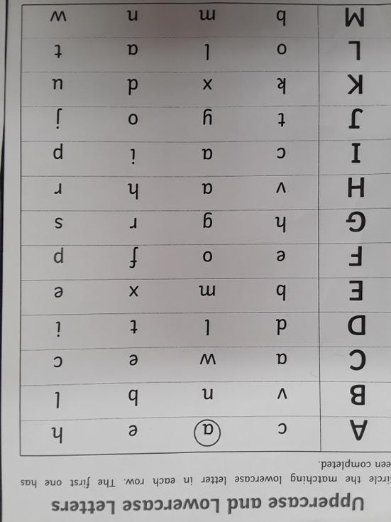 Match the capital letters to the lower case letter