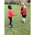 Learning how to catch ready for rounders!