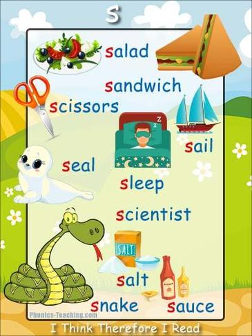 Here are some objects that begin with the letter sound 's'