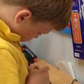 Using the hot glue gun carefully!