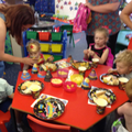 All the children enjoyed the wonderful food.