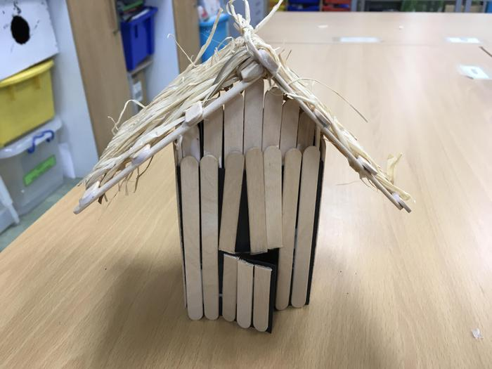 Our Anglo-Saxon huts when finished.