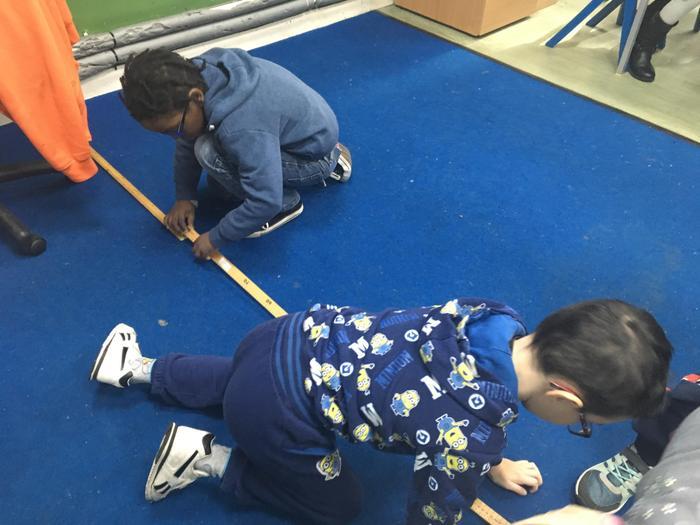 Measuring using rulers.