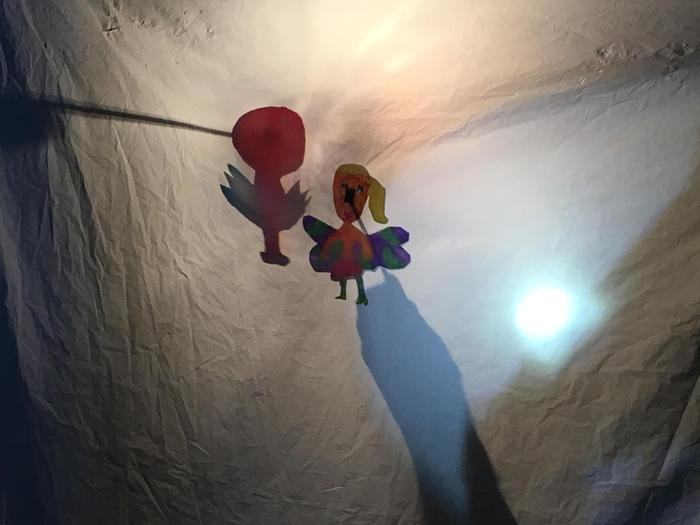 Operating translucent puppets.